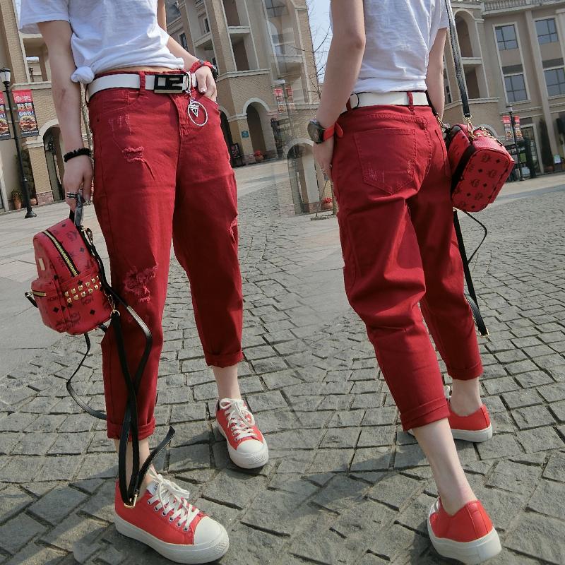 春秋季破洞红色八显瘦宽松bf九分裤