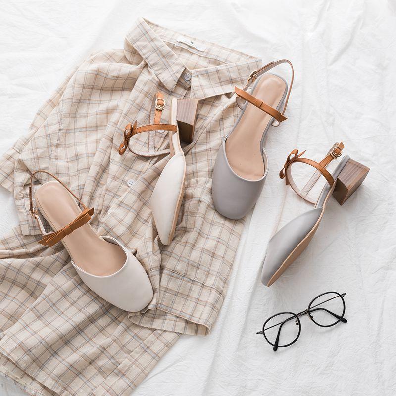 柒步森林|生面|18夏新款文艺甜美撞色蝴蝶结低跟包头牛皮凉鞋女