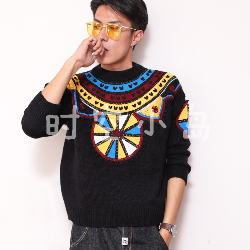 Vintage Style Nordic Iceland faire Island geometric pattern stitching thick line sweater LOPI