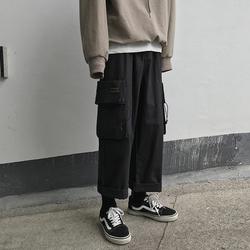 19年秋新款 港风宽松大口袋工装裤 日系休闲阔腿裤K44-P65