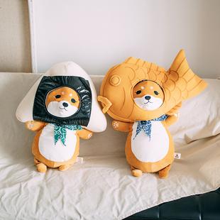 ins日本网红头巾柴犬公仔可爱狗抱枕毛绒玩具睡觉玩偶娃娃礼物女