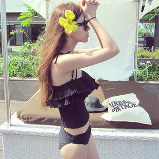 Black style- Korea Spa bikini steel prop gather small chest Bra split cover the belly was thin female clothing Swimming