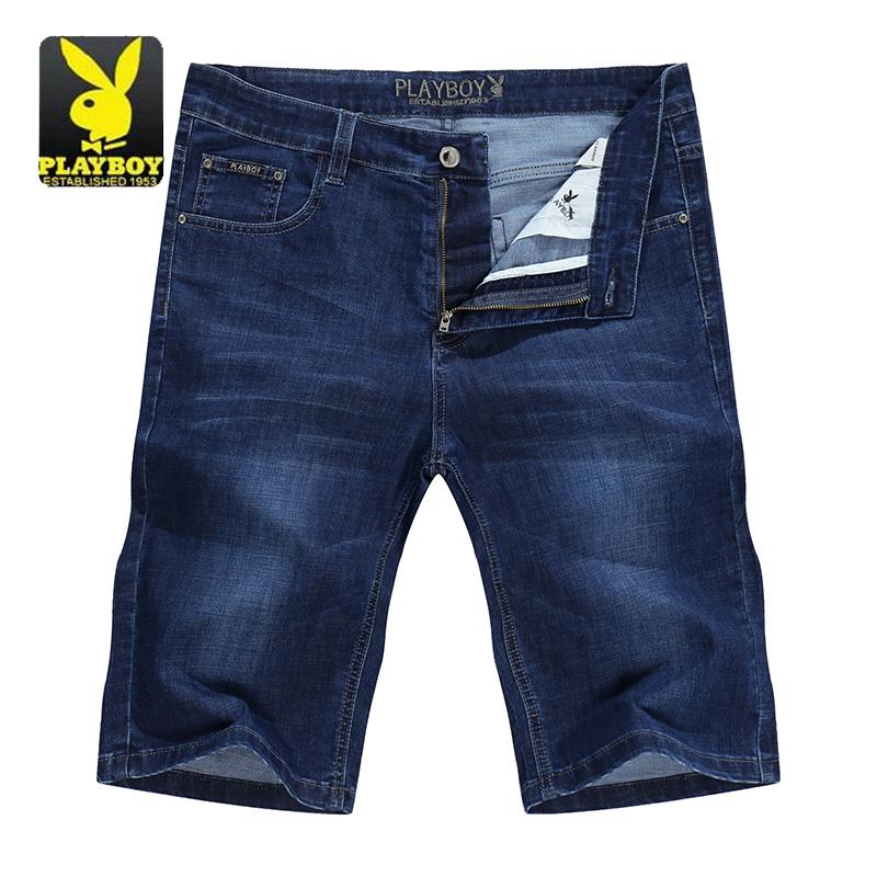 PLAYBOY/花花公子夏季莫代尔薄款男士牛仔短裤休闲五分裤热裤