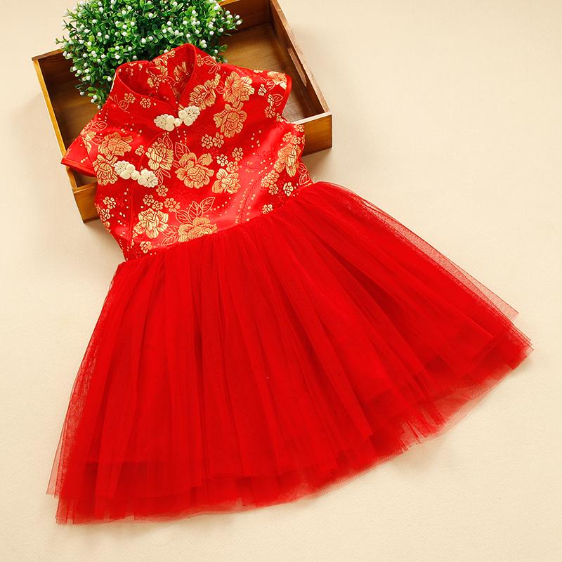 少兒民族舞蹈演出服 幼兒中國風女孩紅色公主連衣裙 女 蓬蓬裙