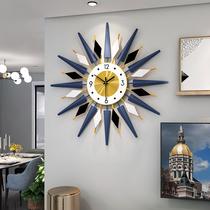 钟表客厅创意现代简约时钟个性家用挂墙装饰北欧轻奢网红金属挂钟