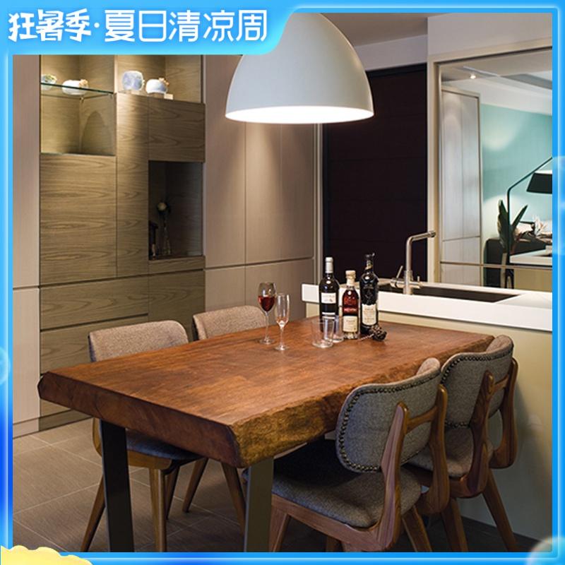 美式实木餐桌长方形饭桌原木桌餐厅咖啡厅桌椅复古做旧工业风桌子