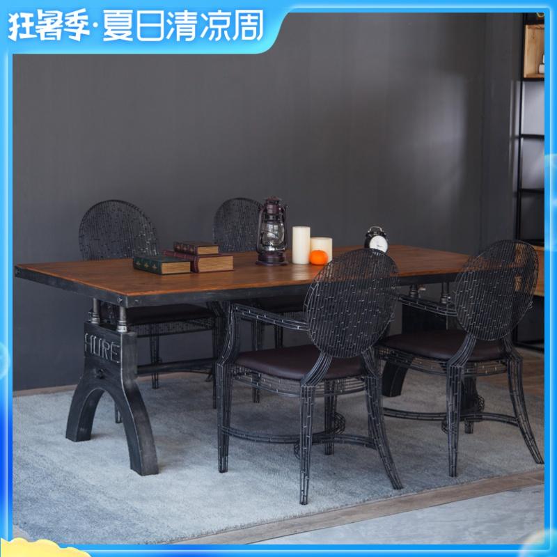 复古做旧工业风铁艺餐桌办公室长方形创意桌子咖啡厅桌椅洽谈桌