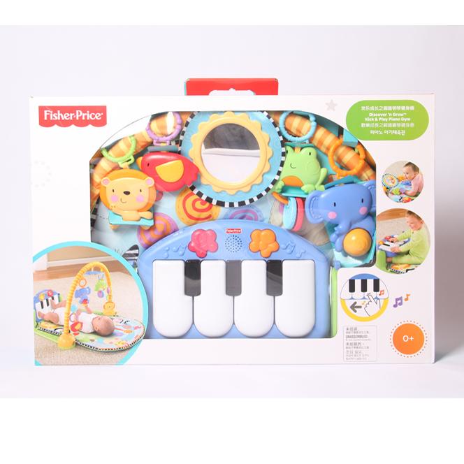 (用1元券)费雪健身架器脚踏钢琴新生宝宝音乐游戏地毯婴儿爬行垫玩具W2621