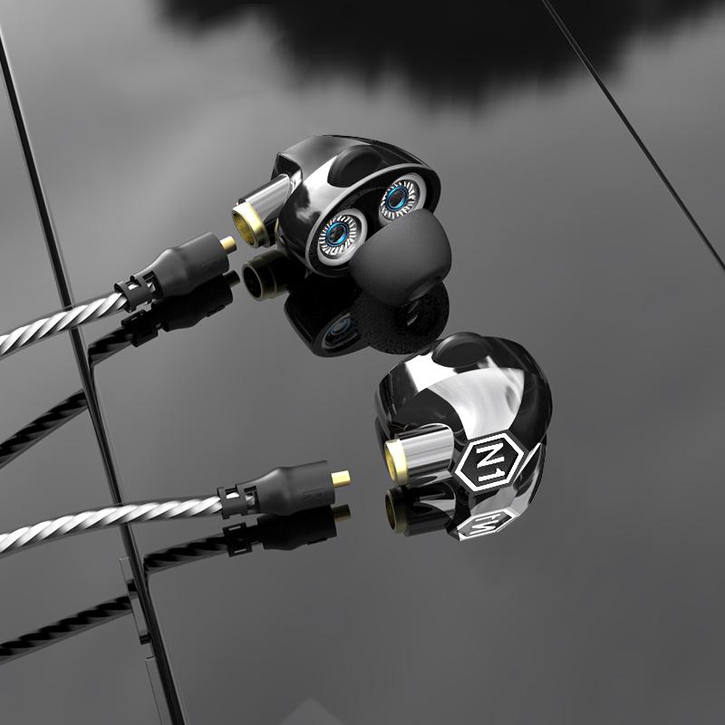 VJJB N1双动圈入耳式电脑手机挂耳通用有线控蓝牙无线重低音炮开车跑步运动耳机带麦魔音耳塞式双耳挂脖颈式