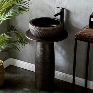 雕刻纹黑色工业风洗手台盆一体立柱式 洗脸盆户外庭院酒店阳台水池