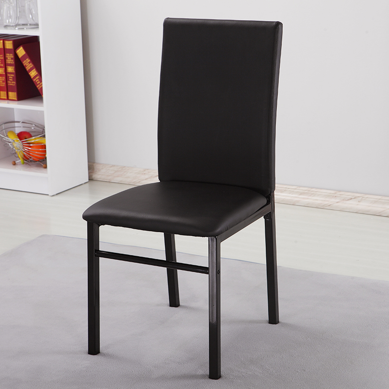 Simple modern high back dining chair top grade black hotel dining chair PU leather dining chair leisure chair special price