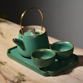 日式粗陶茶具套装整套旅行便携功夫茶具一壶两杯陶瓷茶盘茶杯茶壶
