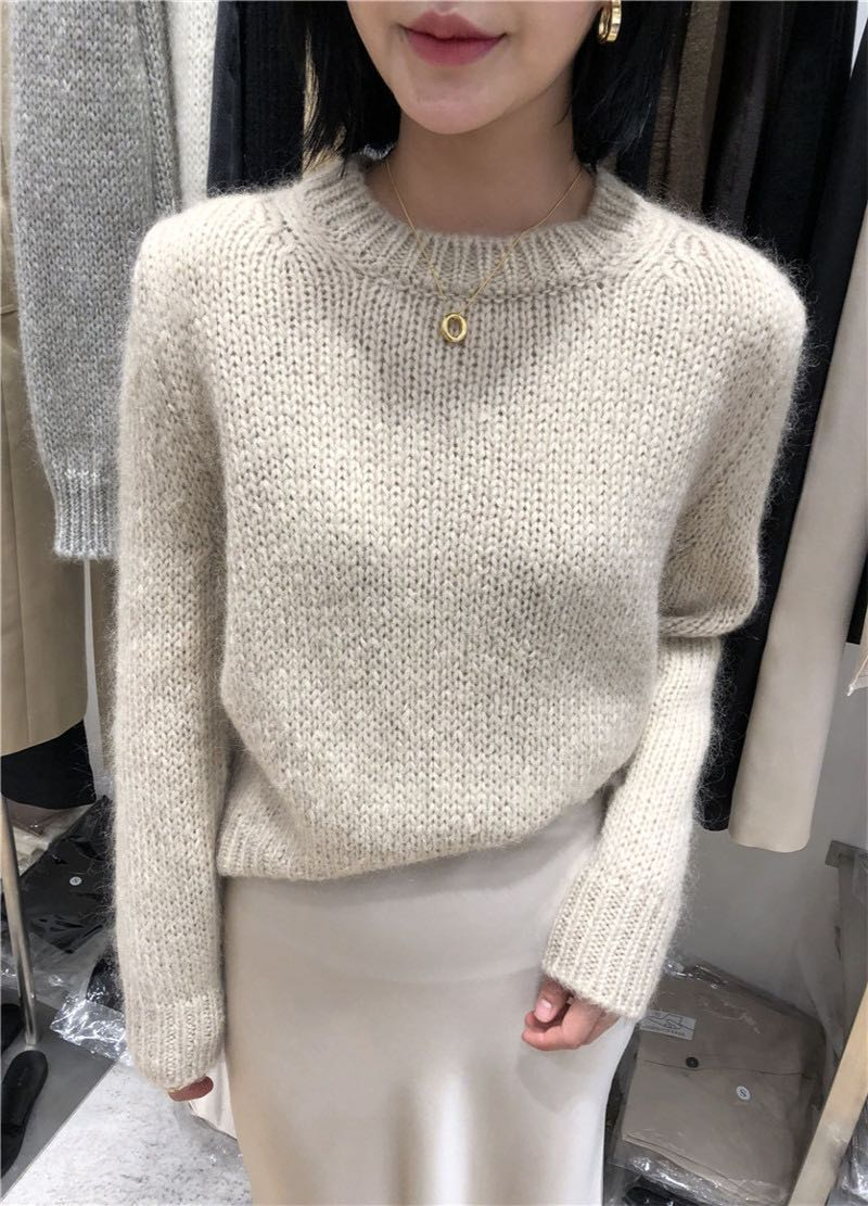 Blossom pushes Korean Mohair blended sweater womens solid color