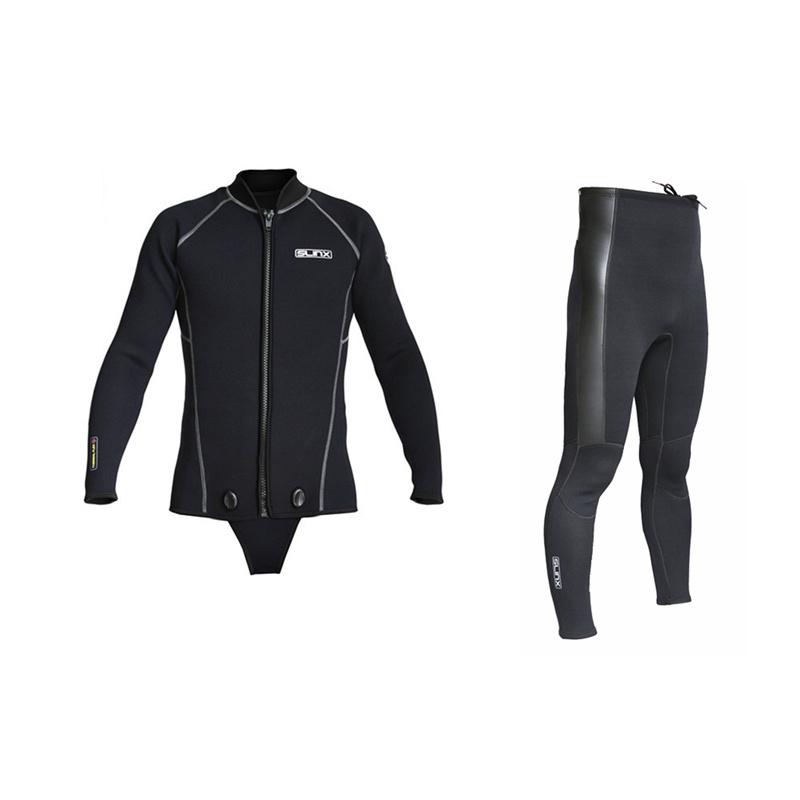 SLINX潜水夹克连裆3MM加厚保暖分体湿衣5MM夹克分体潜水裤男女款