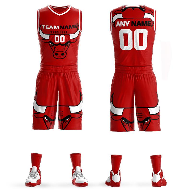 篮球服套装定制男公牛球衣背心三对三斗牛街头篮球比赛训练队服夏