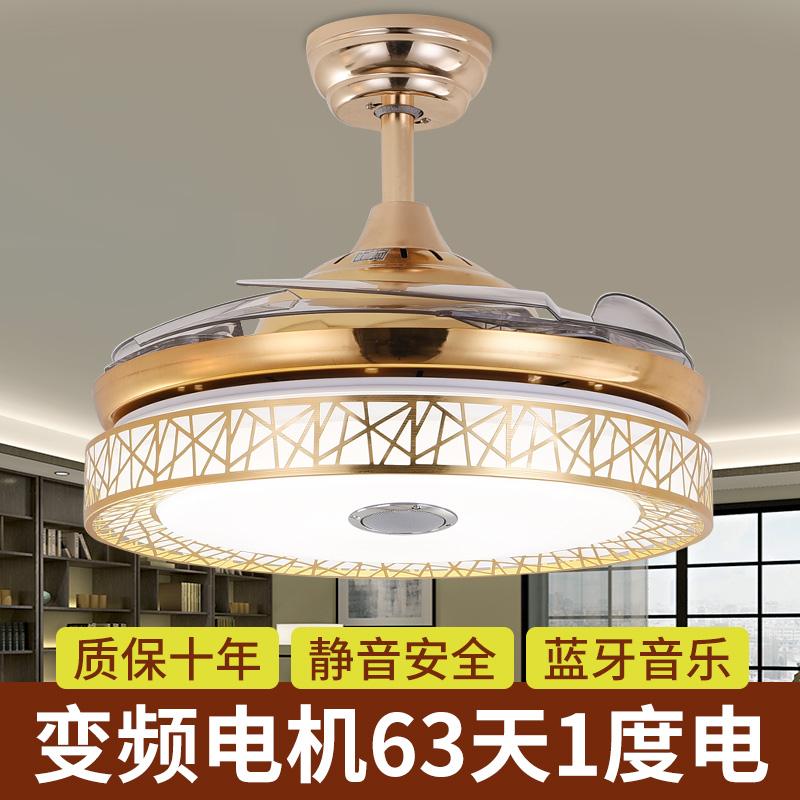 创意鸟巢 卧室餐厅隐形吊扇灯风扇灯现代简约LED客厅遥控家用吊灯-雷诺王智能灯饰店