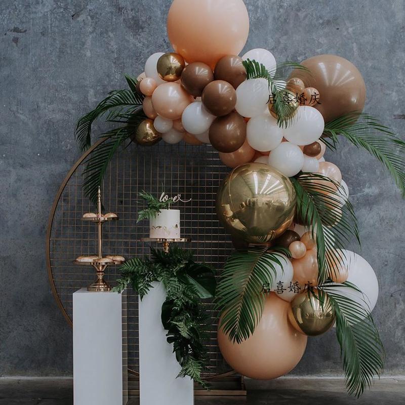 热销102件假一赔十咖啡色生日派对用品结婚房装饰气球