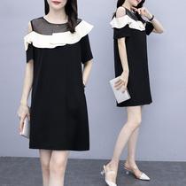 大码女装2020新款胖妹妹mm洋气遮肚减龄连衣裙显瘦露肩直筒裙夏装