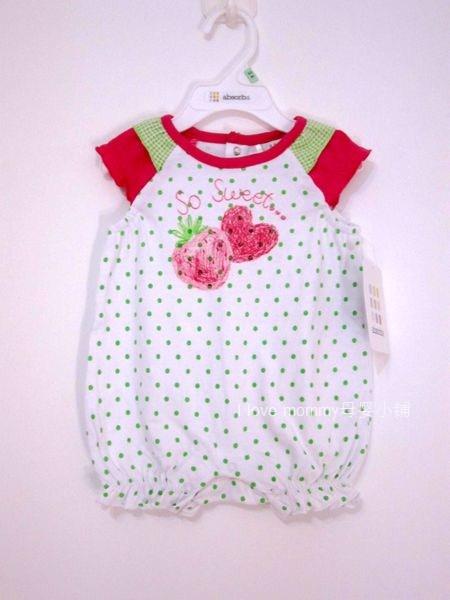 外贸原单 法国absorba婴儿纯棉宝宝爬服连身衣哈衣 绿色波点绣花