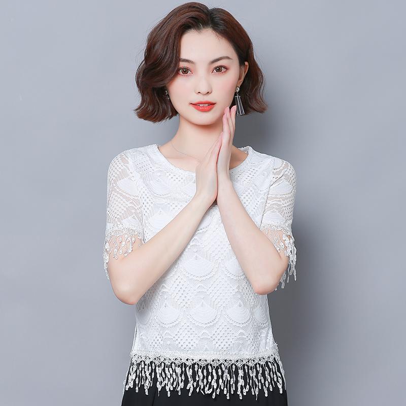蕾丝衫女短袖2019夏季新款镂空雪纺衫小衫流苏短款半袖雷丝上衣仙