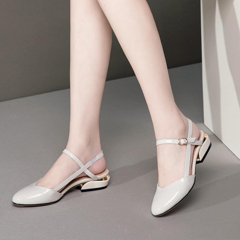 夏新款包头凉鞋女真皮粗跟圆头后空四季凉鞋时尚舒适低跟春秋单鞋