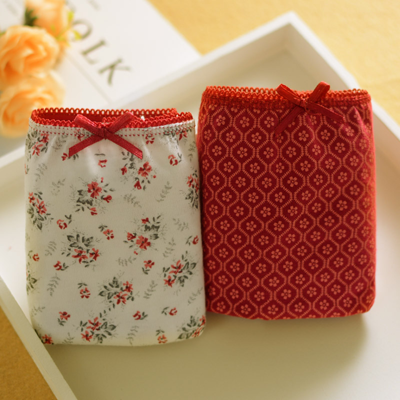 Excellent grade 100% cotton comfortable simple girl wine red Japanese Floral breathable cotton low waist underwear 2