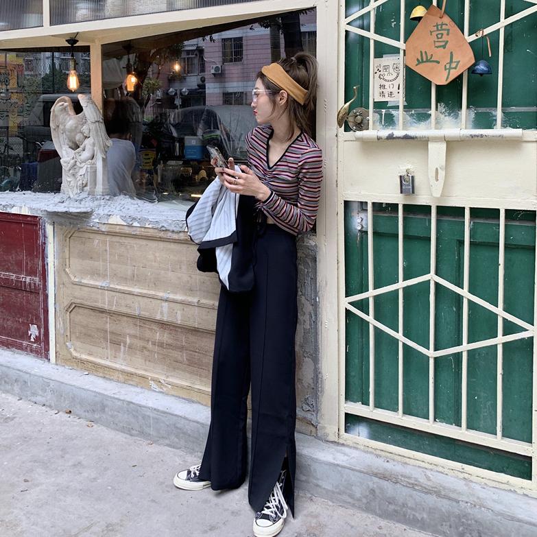 31.90元包邮秋装韩版复古撞色条纹短款抽绳长袖t恤+高腰开叉西装阔腿裤套装女