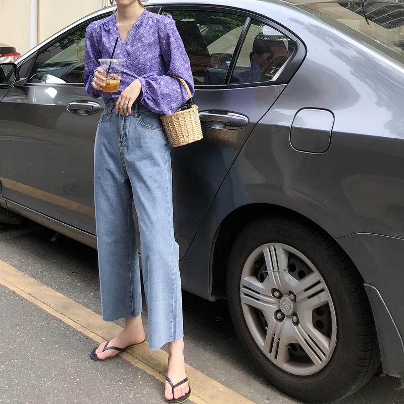 秋季韩版女装复古高腰直筒阔腿裤女宽松显瘦学生百搭九分裤牛仔裤