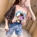 韩国东大门夏季新品宽松重工t恤