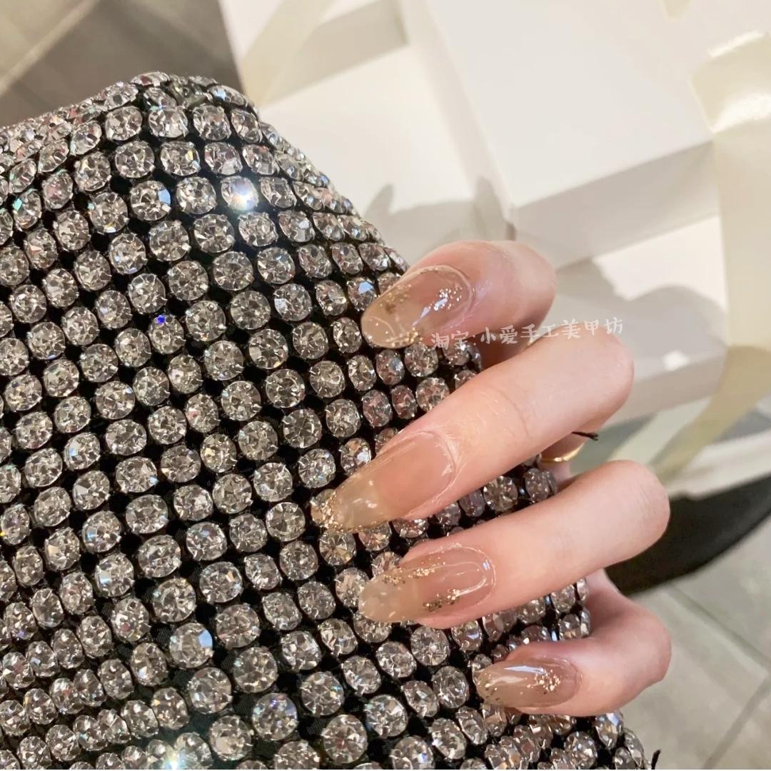 光疗美甲成品果冻冰透穿戴指甲贴片