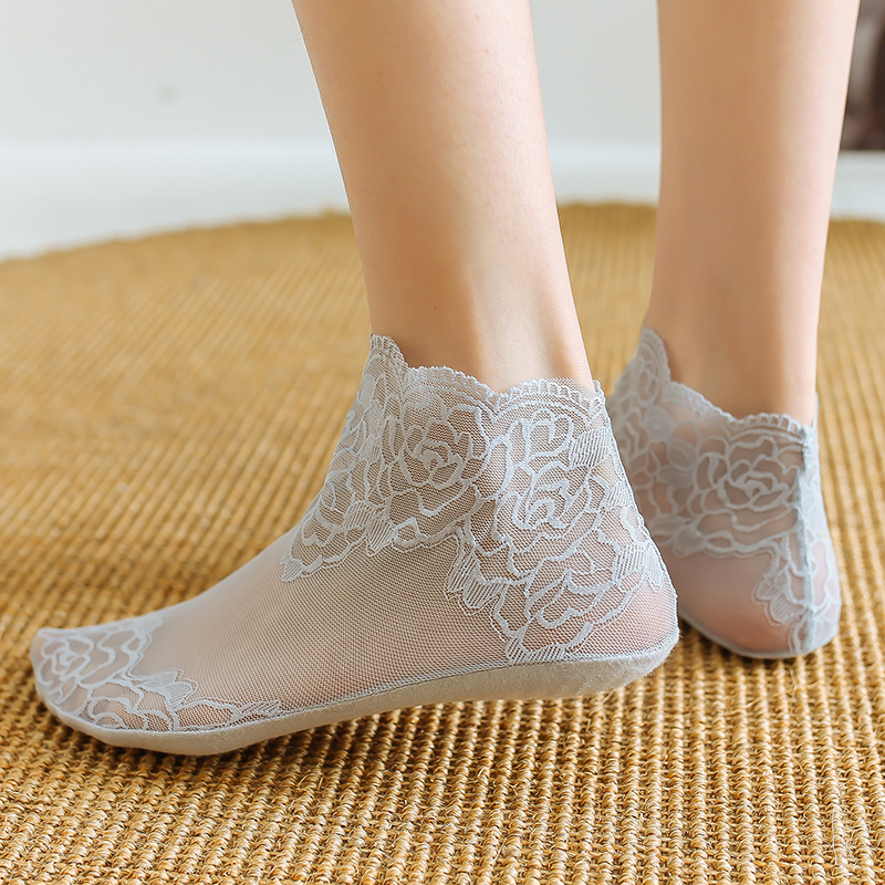 袜女短袜蕾丝花边纯棉底防滑春夏薄款镂空透气低帮短筒韩版松口袜