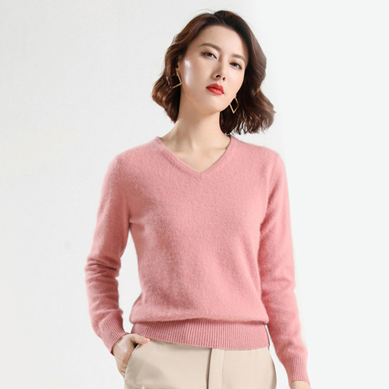 Mink sweater womens V-neck Pullover cashmere backing autumn / winter 2019 new loose and versatile knitted sweater large