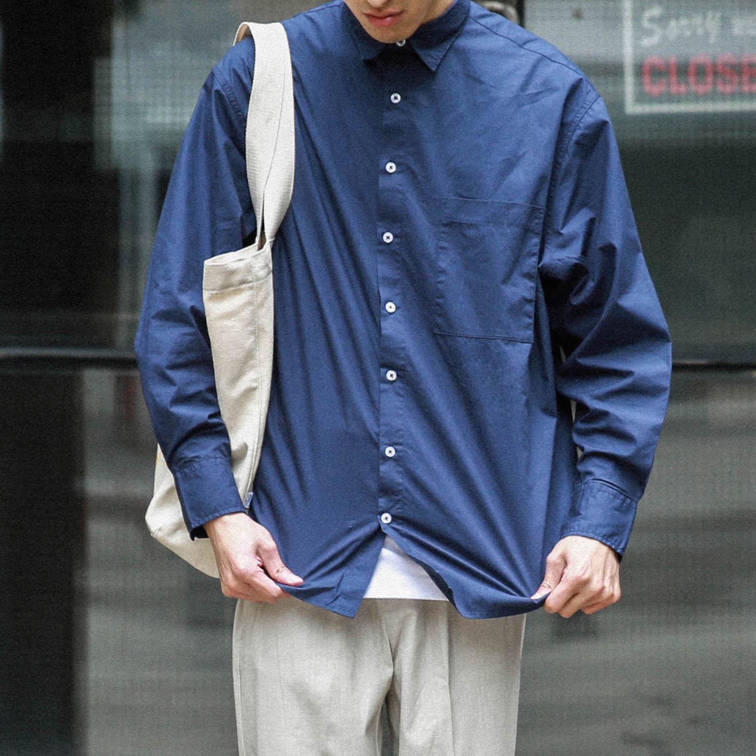 MidnightBlue Shirt 午夜蓝衬衫衬衣宽松日式日系裁剪
