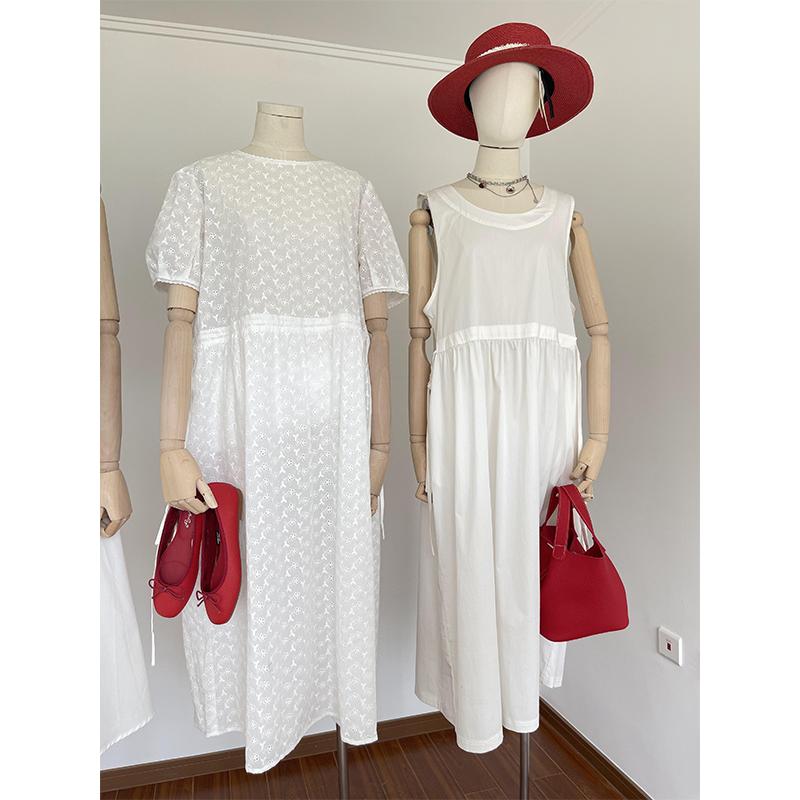 Summer Korean new side tie waist dress cotton sleeveless vest long skirt white dress