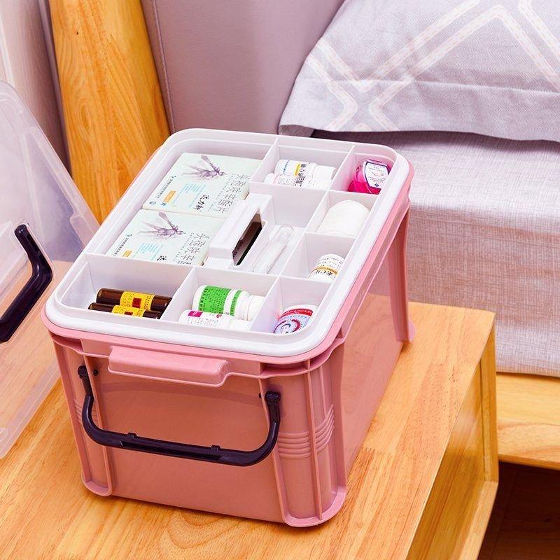 药箱家庭装家用药物小号医疗箱透明简易分药盒便捷实用应急箱防潮