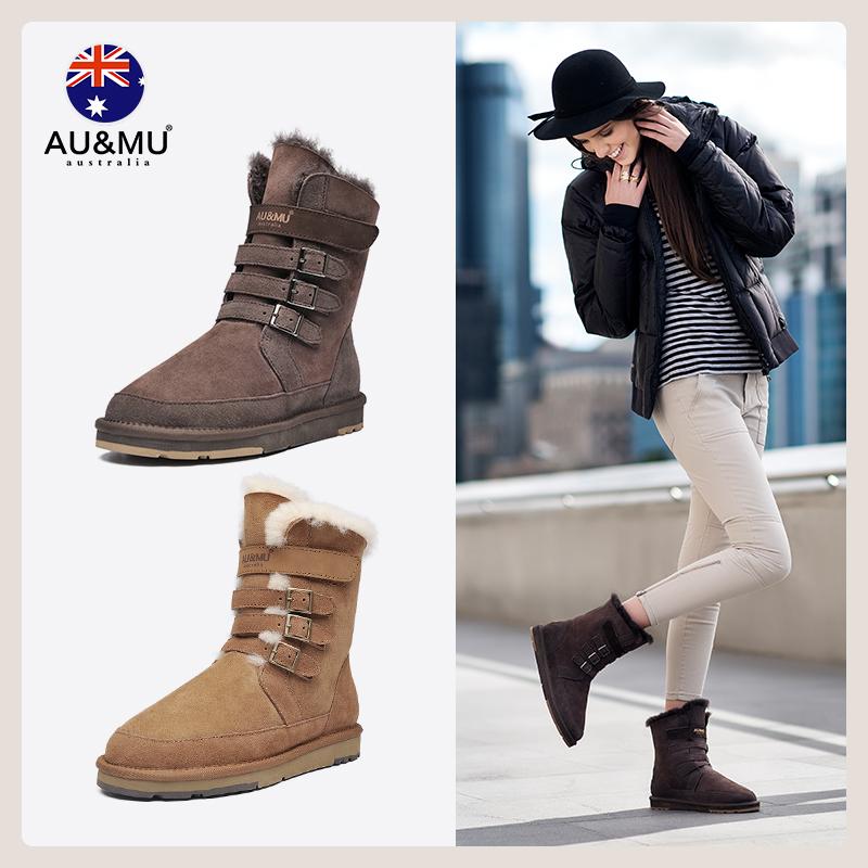 AUMU2019新款时尚冬季雪地靴女皮毛一体马丁短靴子加绒棉鞋男女鞋