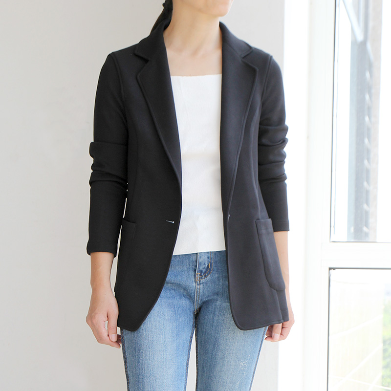 黑色收腰弹力针织棉小西装外套女垂感薄款单层无垫肩免烫不起皱
