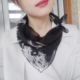 小方巾女丝巾时尚韩国百搭文艺薄款纱巾夏季复古衬衣装饰真丝围巾