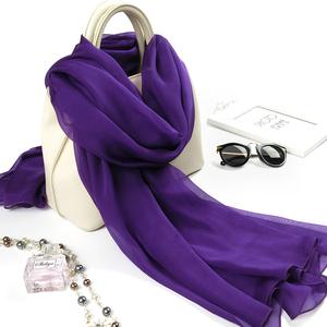 紫色丝巾纯色两用薄款真丝雪纺冬季围巾桑蚕丝披肩女春秋百搭纱巾