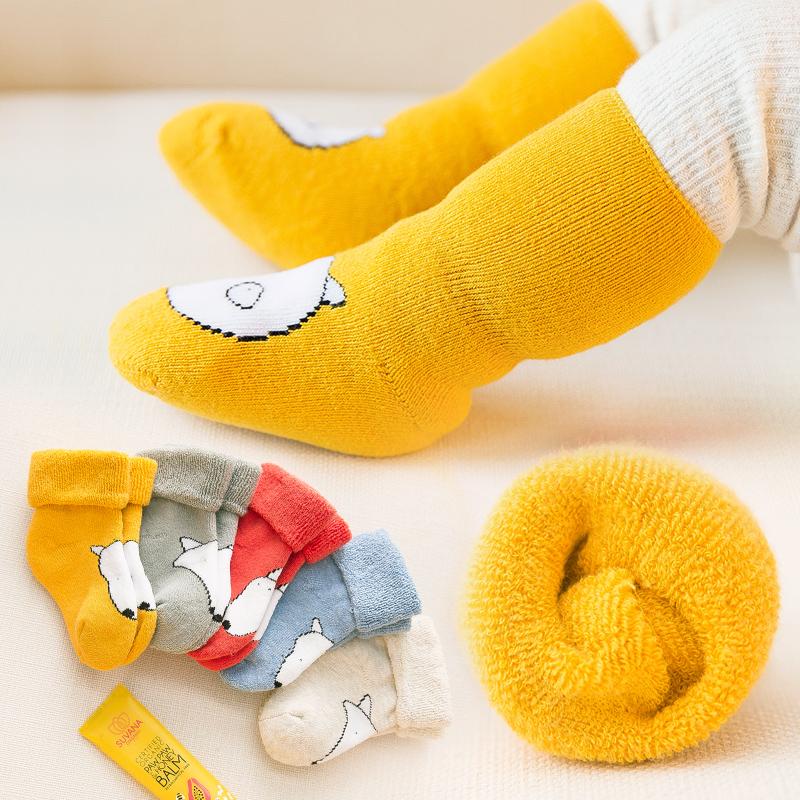 新生秋冬纯棉冬天款加绒婴儿袜子
