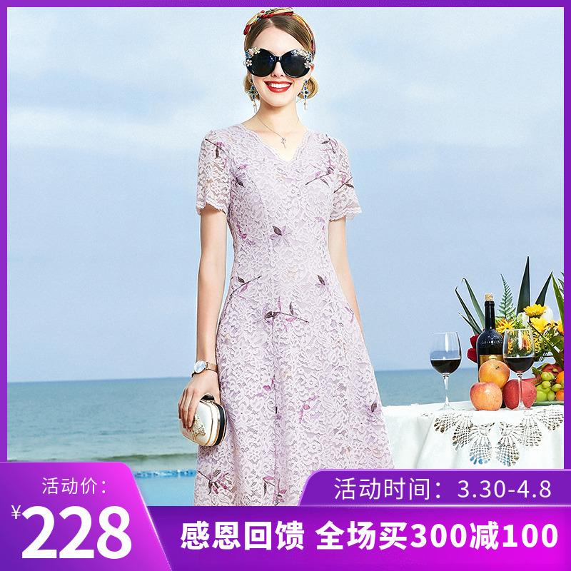妈妈裙子2020春装新款女夏装中年女士过膝短袖大码蕾丝洋气连衣裙