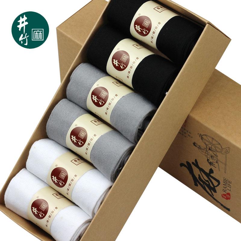 井竹夏季超薄纯色商务休闲中筒男士吸汗透气防臭苎麻棉袜6双盒装