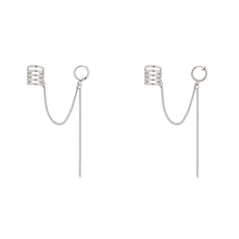 星美饰日韩EXO边伯贤同款925纯银个性流苏链条连体耳夹式耳钉耳环