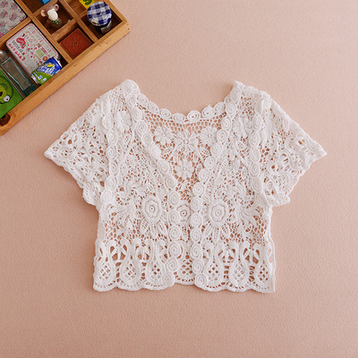 Spring and summer short paragraph outside take a small shawl thin section hollow short sleeve small waistcoat lace cardigan ladies small jacket