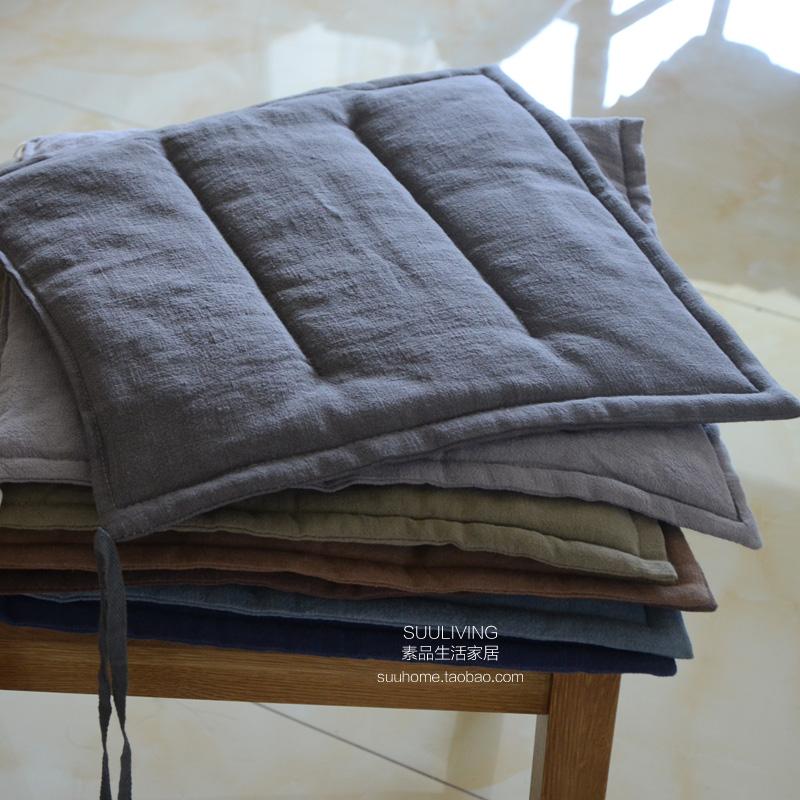薄款简约纯色透气灰色蓝色咖色黑色苎麻棉麻亚麻办公室坐垫餐椅垫