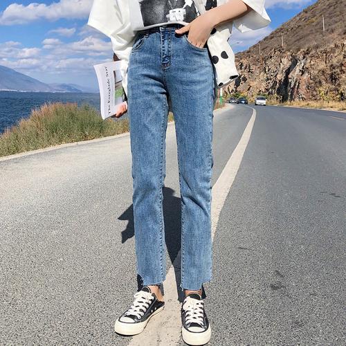 实拍 2019春季新款直筒修身显瘦裤脚U型不规则高腰牛仔裤