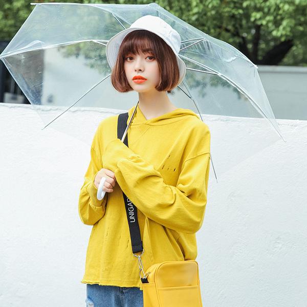 实拍韩国春季新款随性破洞大口袋宽松学生装连帽卫衣女