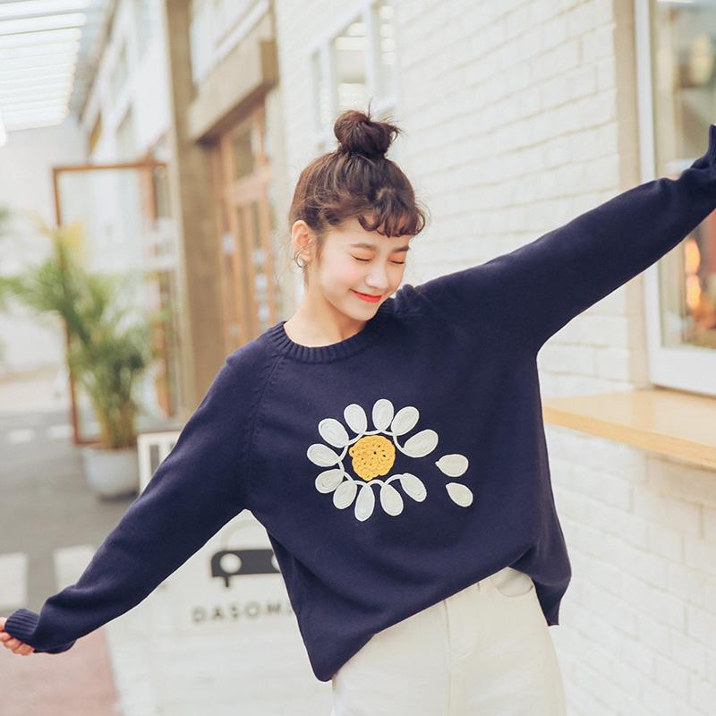 实拍3009B#春季新款立体花朵绣花学院风甜美套头针织衫