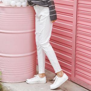 实拍1821#韩版高腰弹力白色磨破显瘦牛仔铅笔裤女小脚裤