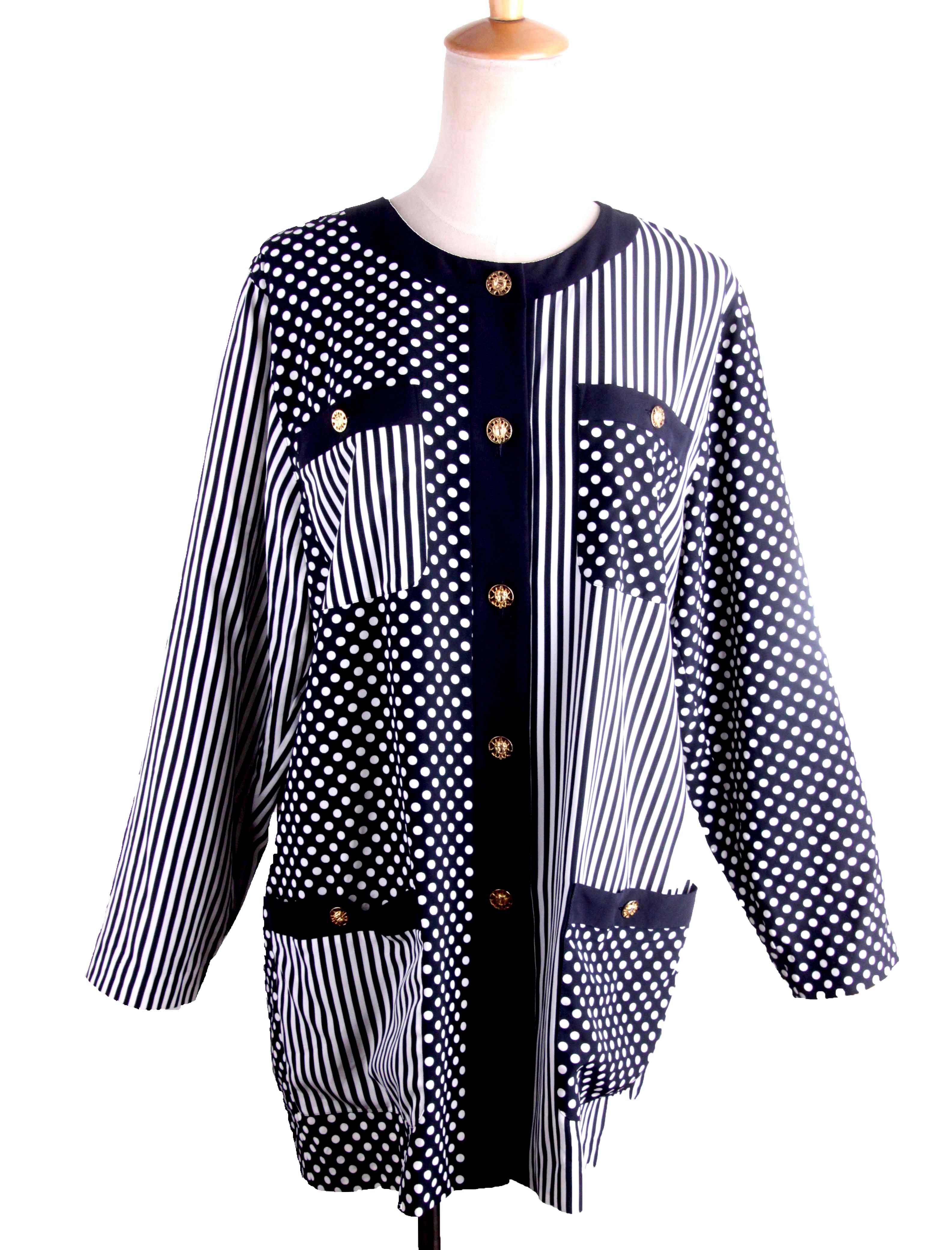 Vintage Vintage Art stripe dot long sleeve loose shirt straight tube regular crew neck commuter medium length